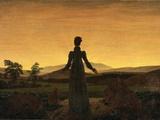A Woman at Sunset or Sunrise Fotografisk tryk af Caspar David Friedrich