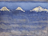 The Eiger, Monch and Jungfrau Peaks Above the Foggy Sea Sträckt kanvastryck av Ferdinand Hodler