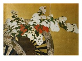 Detail of Flower Carts Edo Period Screen Giclée-Druck