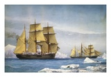 H.M.S. Alert and Discovery on the Arctic Expedition of 1865-1866 Giclée-tryk af William Frederick Mitchell