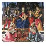 Madonna Enthroned with Saints Giclée-tryk af Domenico Ghirlandaio