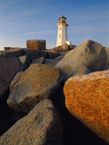 Rocks near Peggy's Cove Light Photographic Print by Ron Watts