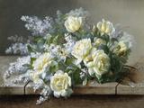 Stilleben med gule roser Fotografisk tryk af Raoul De Longpre