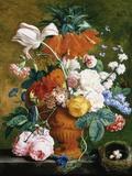 A Vase of Rich Summer Flowers Fotografisk tryk af Jan van Huysum