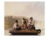 Boatmen on the Missouri Gicléedruk van George Caleb Bingham