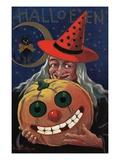 Witch Holding a Pumpkin Giclée-Druck von  Bettmann