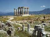 Distant View of the Temple of Apollo at Corinth Fotografie-Druck von  Bettmann