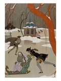 Ice Skating on the Frozen Lake Giclee-trykk av Georges Barbier