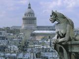 Gargoyle Looking Toward the Pantheon Photographic Print by Michel Setboun