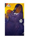 Woman With a Mango Reproduction giclée Premium par Paul Gauguin
