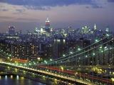 Manhattan Bridge and Skyline at Night Photographic Print by Michel Setboun
