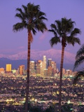 Two Palm Trees with Distant Los Angeles Photographic Print by Joseph Sohm