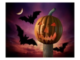 Scary Pumpkin and Bats Giclee Print by Matthias Kulka