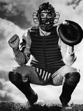 Baseball Catcher Awaiting the Ball Reproduction photographique par  Bettmann