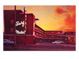 Le Surf Motel au coucher du soleil, rétro Art