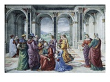 Zacharias Writes Down the Name of His Son Giclée-tryk af Domenico Ghirlandaio