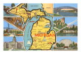 Views and Map of Michigan Posters