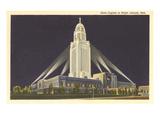 Night, State Capitol, Lincoln, Nebraska Poster
