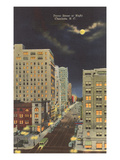Moon over Tryon Street, Charlotte, North Carolina Poster