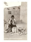 Acoma Pueblo Indian Woman Decorating Pottery Print