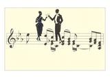 Couple Toasting on Musical Staff Láminas