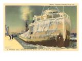 Iced Over Freighter, Davis Lock, Lake Superior, Michigan Premium Giclee Print