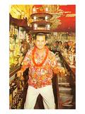 Aloha-Shirted Bartender with Trays on Head Prints
