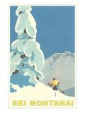 Ski Montana, Snow on Pine Tree Posters
