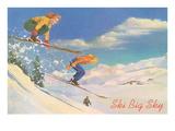 Ski Big Sky, Lady Skiers, Montana Affischer