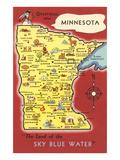 Map of Minnesota Premium Giclee-trykk