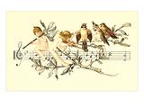 Angel and Bird Chorus on Staff 高品質プリント