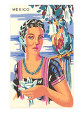 Poster for Mexico, Lady with Parrot Poster