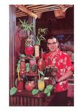 Tiki Man with Exotic Drinks, Retro Poster