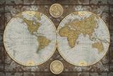 Carte du monde Reproduction d'art par Elizabeth Medley