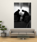 Jack Kennedy Conferring with His Brother and Campaign Organizer Bobby Kennedy in Hotel Suite Art by Hank Walker