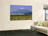 Mount Fuji, Bullet Train and Rice Fields, Fuji, Honshu, Japan Poster af Steve Vidler