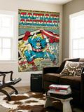 Marvel Comics Retro: Captain America Comic Panel; Smashing through Window (aged) Posters
