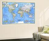 Mappa del mondo, 1981 Stampe di  National Geographic Maps