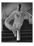 Vogue - July 1944 - William Miller Carrying a Chair he Designed Premium Photographic Print by  Karger-Pix