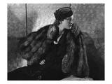 Vogue - September 1935 - Gerda Sommerhoff Models Fur Cape Premium Photographic Print by Edward Steichen