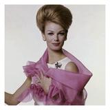 Vogue - July 1962 - Woman with Bouffant Hairdo Premium fotoprint van Bert Stern