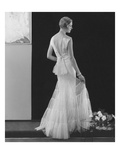 Vogue - March 1934 - White Gown with Deep V-Back Photographic Print by Edward Steichen
