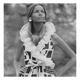 Vogue - June 1968 - Veruschka in Sleeveless Print Dress Premium Photographic Print by Franco Rubartelli
