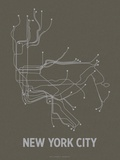 New York City (Charcoal Brown & Silver) Zeefdruk van  LinePosters