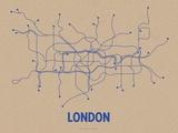 London (Oatmeal & Blue) Silketrykk av  LinePosters