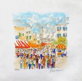 Paris, Montmartre La Place Du Tertre À Collectable Print by Urbain Huchet