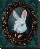 White Rabbit Stretched Canvas Print by  Larkin
