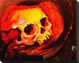 Volcanic Skull Stretched Canvas Print by Claire Reid