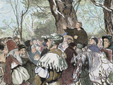 German Reformer, Luther's Preaching to the Crowd in Moera. Colored Engraving from 1882 Fotografisk tryk af  Prisma Archivo