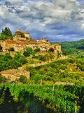 The Village of Montefioralle Overlooks the Tuscan Hills around Greve, Tuscany, Italy Reproduction photographique par Richard Duval